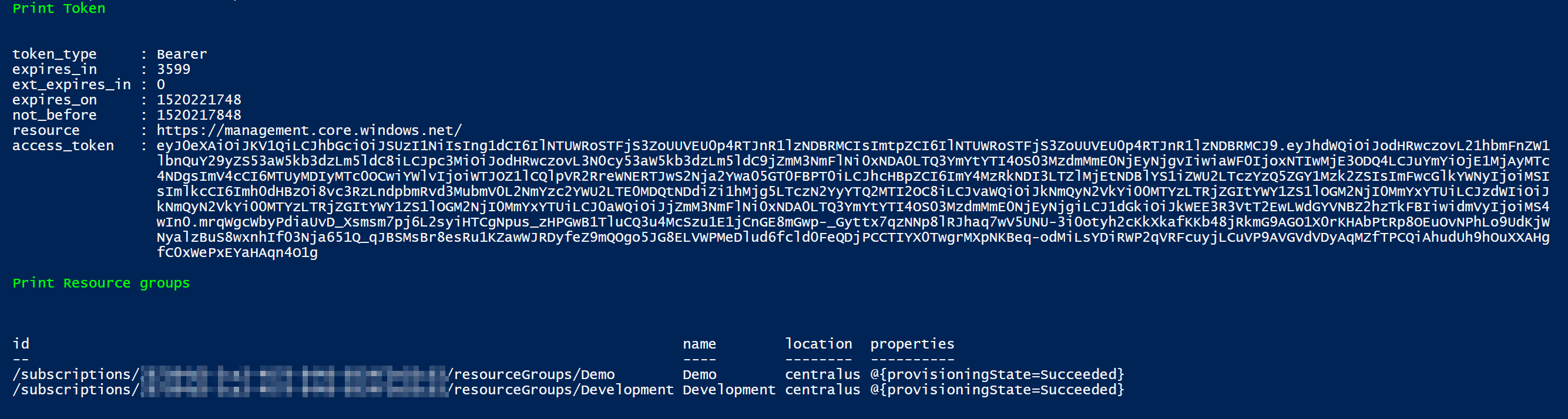 Access Azure REST API using PowerShell